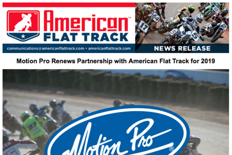 Motion Pro Renews Partnership with American Flat Track for 2019!