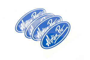 Patch, Heat Transfer, 4/PK Wht MP on Blue 10cm x 5cm